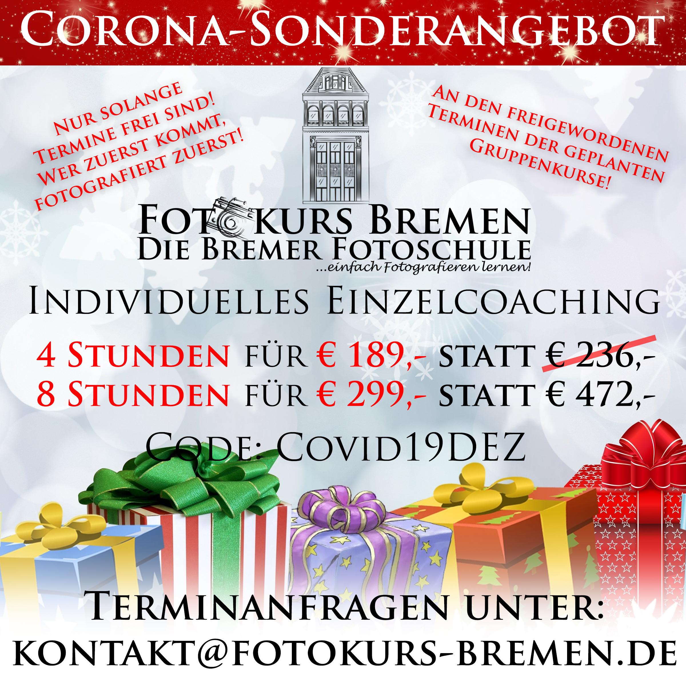 Fotokurs, Bremen, Aktion, Dezember, Corona, Angebot